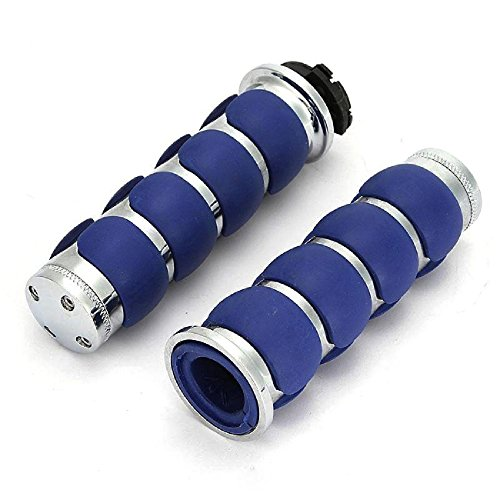(INNOGLOW Motorcycle Molded Rubber Chrome+Blue Hand Handlebar Grips 26mm(1