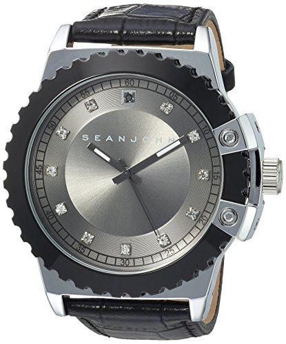 (Sean John Male Diamond Japanese-Quartz Watch with Leather-Synthetic Strap, Black, 24 (Model: 10030885))