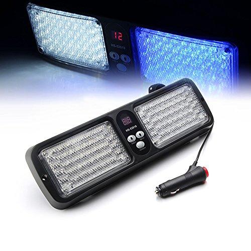 Xprite White & Blue 86 LED 12 Modes Windshield SunShield Law Enforcement Emergency Hazard Warning Strobe Lights for 12V Vehicle Sun Visor