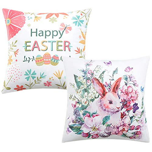 Anickal Easter Home Decorations Set of 2 Decorative Pillow Covers Happy Easter Bunny Throw Pillow Covers Velvet Cushion Covers 18 x 18 Inches]()