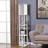 LED Shelf Floor Lamp - 62'' Tall 3 Tier Wood Standing Lamp Modern Floor Lights -Asian Wooden Frame with Linen Shade/Open Box Display Shelves for Living Room Bedroom (Ivory White)