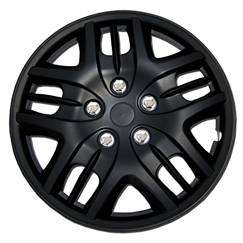 TuningPros WC-15-1025-B 15-Inches Pop On Type Improved Hubcaps Wheel Skin Cover Matte Black Set of 4