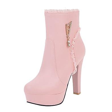 UH Damen High Heels Plateau Stiefeletten Blockabsatz Ankle Boots mit Spitze und Strass Hochzeit Braut Schuhe