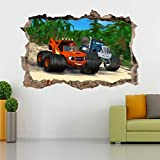 Blaze And The Monster Machines Smashed Wall Sticker Decal Home Decor Art J274, Huge