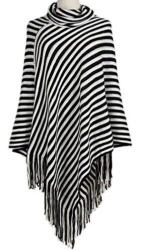 Multi Stripe Wrap Sweater (QZUnique Women Turtleneck Poncho Pullover Shawl Tassels Stripes Sweater Knit Cape)