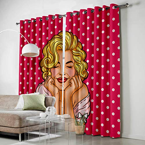 HomeCreator Window Blackout Curtains Marilyn Monroe Curtains Darkening Thermal Insulated Curtains for Living Room Bedroom Window Drapes Set of 2 Panels-52 x72