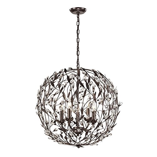 Elk Lighting 18135/5 Circeo Collection 5 Light Pendant, Deep Rust