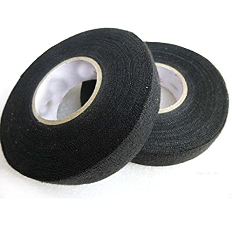 adecco llc 2 rolls wire loom harness tape, wiring harness cloth tape, adhesive fabric tape for automobile 15m 19mm Black Cloth Fabric