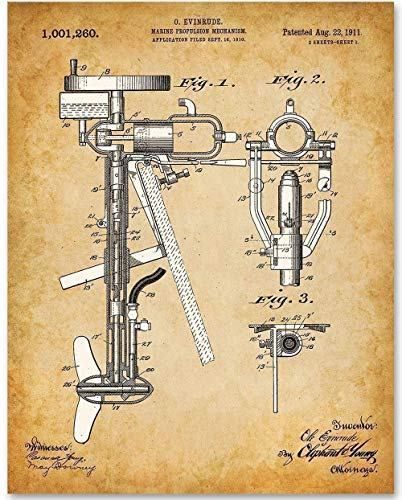 Outboard Boat Motor Engine - 11x14 Unframed Patent Print Lake Art - Makes a Great Gift Under $15 for Boat Owners, Lake House, Beach House or Cabin Decor ()