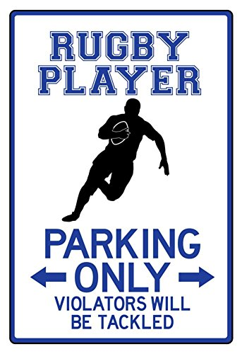 Rugby Player Parking Only Sign Poster 13 x 19in