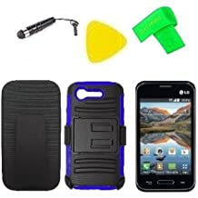 Belt Clip Holster w Heavy Duty Hybrid Phone Cover Case Cell Phone Accessory + Extreme Band + Stylus Pen + LCD Screen Protector + Yellow Pry Tool For Straight Talk Tracfone LG Optimus Fuel L34C / Verizon LG Optimus Zone 2 VS415 Vs415pp (Belt Clip Holster Black/Blue)