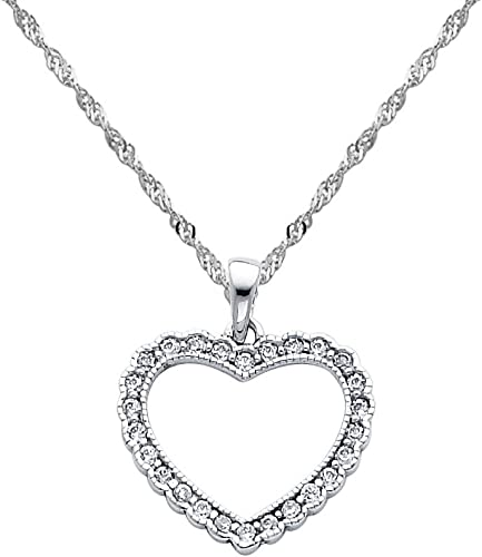 14k White Gold Open Heart CZ Pendant with 1.2mm Singapore Chain Neckalce