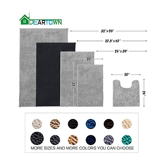 DEARTOWN Non-Slip Shaggy Bathroom Rug,Soft Microfibers Chenille Bath Mat with Water Absorbent, Machine Washable(Dark Grey,31x59 Inches) - GREAT ABSORBENCY: The chenille area rug can absorb water quickly, it has strong water-absorbent ability because of plenty of microfiber shags can keep your room floors dry and clean. Regularly be exposed to the sun to keep the mat always dry and clean. NON-SLIP: The non-slip bathroom mat for floor is backed with TP Rubber to prevent shifting and skidding. Please place the toilet rug on DRY SMOOTH FLOOR only. Water under the bathroom rug can cause it to slip. Keep bottom of the bath rug dry. PAMPER YOUR FEET: This bath mat for bathroom is constructed with thousands of individual microfiber shags, sink your toes into the comfortable contentment of a bathroom floor mat from threshold. Soft pile that soothes tired feet and shields toes from the cold floor. - bathroom-linens, bathroom, bath-mats - 51vjuq4f2KL. SS570  -