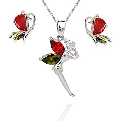 5d9f2dca11d Crystalline Azuria Women 18 ct White Gold Plated Colorful Zirconia Crystals  Fairy Tinkerbell Butterfly Set Necklace Stud Earrings: Amazon.co.uk:  Jewellery