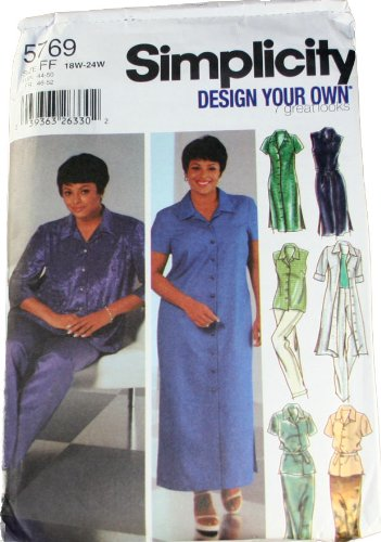 Simplicity 5769 Pattern Womens Design Your Own Shirt Dress In Two