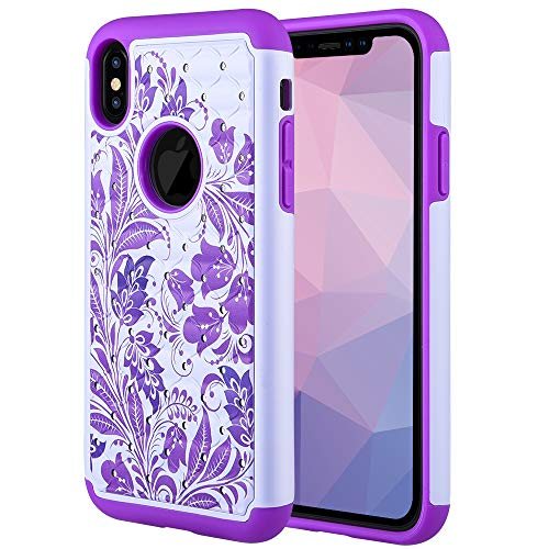 Caka iPhone Xs Max Case, iPhone Xs Max Heavy Duty Protection Case Floral Luxury Flower Studded Rhinestone Bling Dual Layer Soft Inner Plastic Hybrid Case for iPhone Xs Max (6.5 inch) (Flower) (Iphone Studded White)