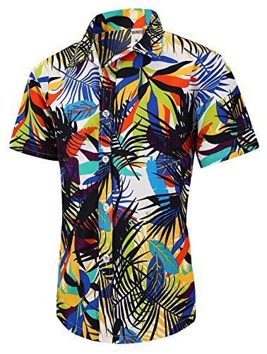 (XTAPAN Men Short Sleeve Shirt-Flower Leaf Palm Tree Print Beach Button Down Hawaiian Shirt US M=Asian 3XL Light Green 1308)