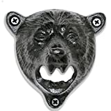 Grizzly Bear Wall Mount Beer Bottle Cap Openers | Durable Cast Iron and Black Vintage Finish For Sale