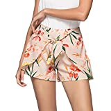 Han Shi Women Summer Floral Print Shorts High Waist Workout Yoga Beach Pants (Pink, L)
