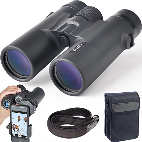 Gosky 10X42 Binoculars For Adults  Compact Hd Professional Binoculars For Bird Watching Travel Stargazing Hunting Concerts Sports Bak4 Prism Fmc Lens With Phone Adapter Strap Carrying Bag