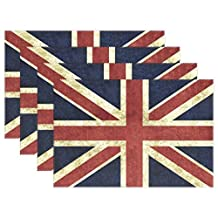 """WOZO Vintage Union Jack Placemat Table Mat, Retro British 12"""" x 18"""" Polyester Table Place Mat for Kitchen Dining Room 1 Piece"""