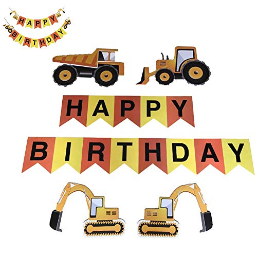 (Pocomoco Happy Birthday Banner Construction Vehicle Theme Banner Excavators Bulldozers Dump Trucks Cement Trucks Birthday Party)