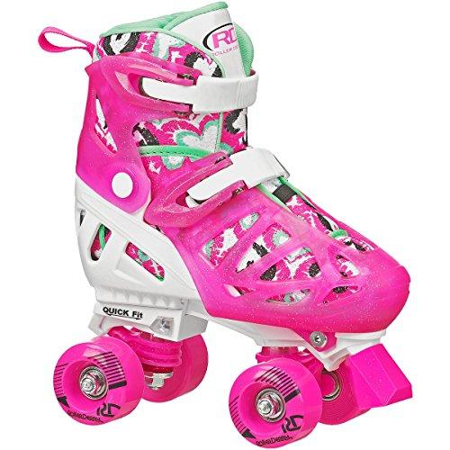 (Roller Derby Trac Star Girl's Adjustable Roller Skate, White/Pink, Large (3-6))