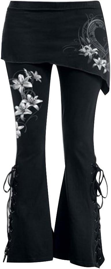 Keephen Mujeres Gótico Pantalones - Mujer Acampanado ...