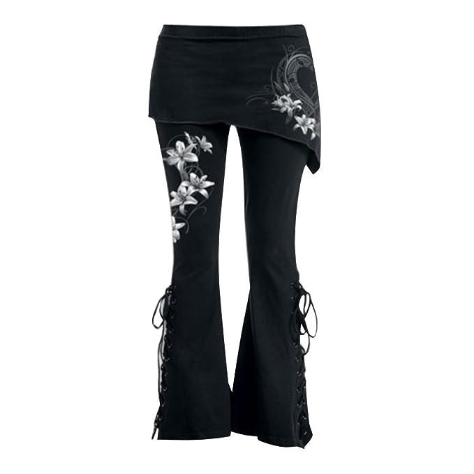 Keephen Mujeres Gótico Pantalones - Mujer Acampanado Pantalones ...