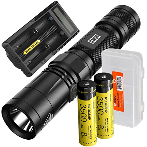 Digital Rechargeable Flashlight (Nitecore EC23 1800 Lumens High Performance LED Flashlight, 2 x 3500mAh 18650 Rechargeable Batteries, UM20 Digital Smart Charger and Lumen Tactical Battery Organizer)