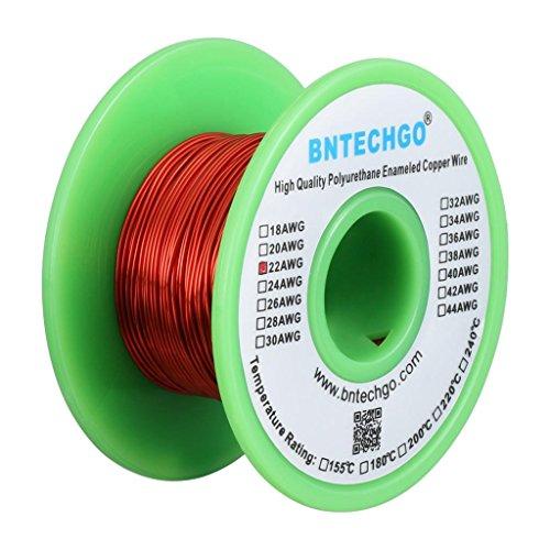 Enamel Magnetic (BNTECHGO 22 AWG Magnet Wire - Enameled Copper Wire - Enameled Magnet Winding Wire - 4 oz - 0.0256