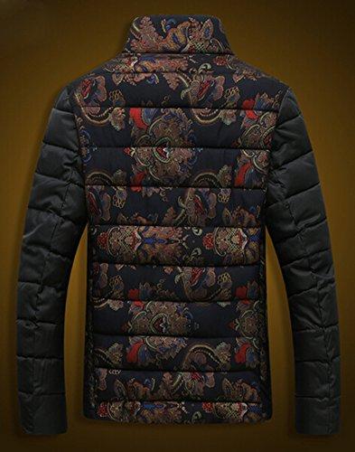 Down Slim Casual Jackets Floral Mens black l EKU Zipper Printed Coats cWCOxncR