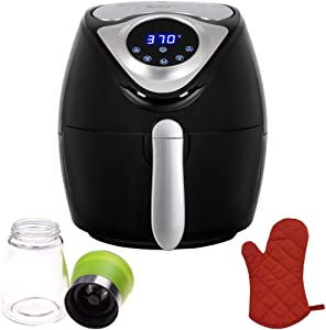 Deco Chef 3.7QT Electric Oil-Free Digital Air Fryer for Healthy Frying (DAIRFR) w/Oven Mitt Heat Resistant and Spice Mill