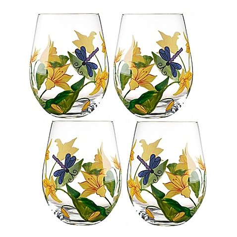 Table Art Lillies Stemless Wine Glasses (Set of 4)