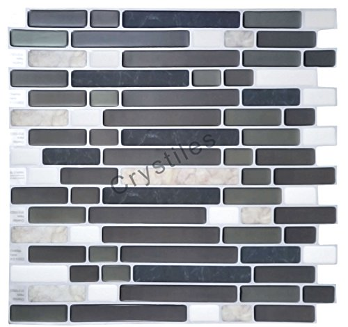 """Crystiles Peel and Stick Self-Adhesive DIY Backsplash Stick-on Vinyl Wall Tiles for Kitchen and Bathroom Décor Projects, Item# 91010822, 10"""" X 10"""" Each, 6 Sheets Pack"""
