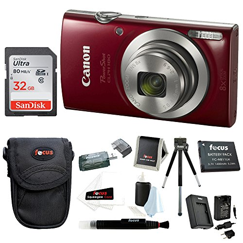 Canon PowerShot Digital Camera (Red)+ 32GB Memory Card+ Focus Rechargeable Replacement Lithium Ion Battery + Travel Quick Charger + Focus Medium Point & Shoot Camera Accessory Bundle