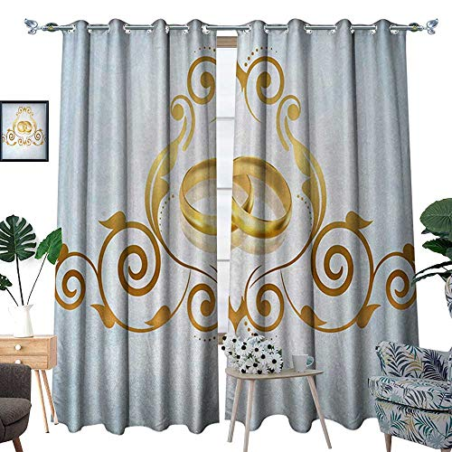 Wedding Waterproof Window Curtain Vintage Style Victorian Ornaments on Blue Backdrop Rings Classical Celebration Blackout Draperies for Bedroom W72 x L96 Pale Blue Gold