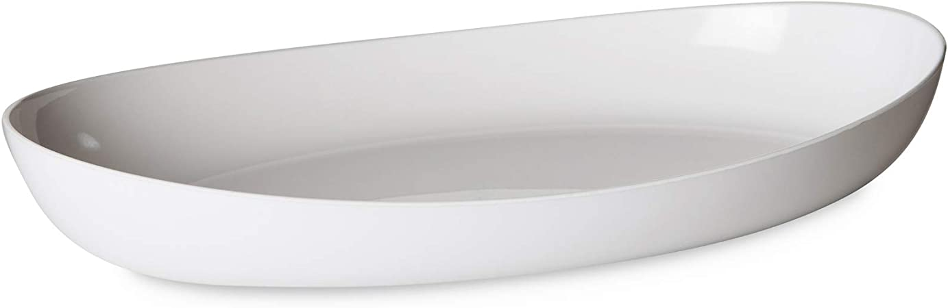 Omada Design Piatto portata o pirofila da 28 cm x da 17 cm con interno bianco ed esterno trasparente linea Trendy