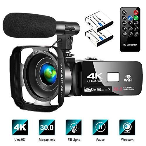 "4K Video Camera Camcorder with Microphone Vlogging Camera YouTube Camera Recorder Ultra HD 30FPS 30MP 3.0"" IPS Touch Screen with Lens Hood & 2 Batteries"