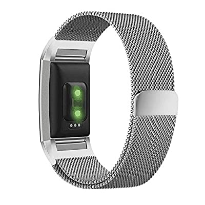 Fitbit Charge 2 Band, UMTELE Milanese Loop Stainless Steel Metal Bracelet Strap with Unique Magnet Lock, No Buckle Needed for Fitbit Charge 2 HR Fitness Tracker