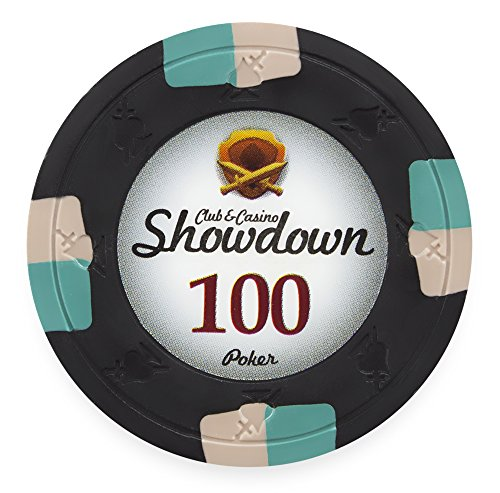 Claysmith Gaming Pack of 50 Showdown Poker Chips, Heavyweight 13.5-Gram Clay Composite (100 Black)