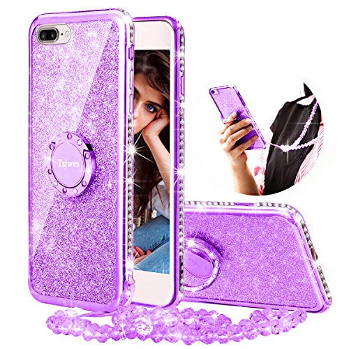Diamond Purple Skin Case - iPhone 8 Plus/iPhone 7 Plus Case for Girl Women, Tsjwee Cute Girly Glitter Bling Diamond Rhinestone with Ring Kickstand Pearls Lanyard Necklace Sparkly Protective Phone Case for iPhone 8 Plus -Purple