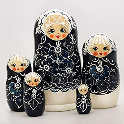Non-Branded Mother Pearl Nesting Doll. Russian Matryoshka. 5 Ct: Toys & Games