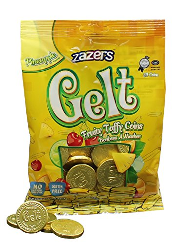 Zazers Gelt Coins Gold Pine Apple Fruit Nut Free Chewy Taffies Kosher 35 Coins - Pack of (Gelt Coins)