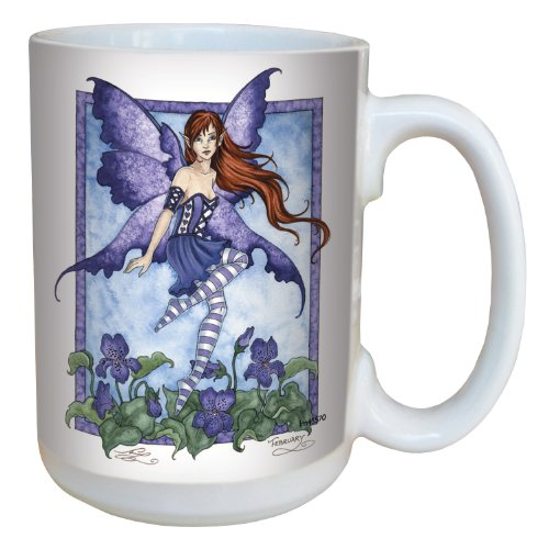 Tree-Free Greetings lm43570 Fantasy Violet Fairy Ceramic Mug with Full Sized Handle by Amy Brown, 15-Ounce