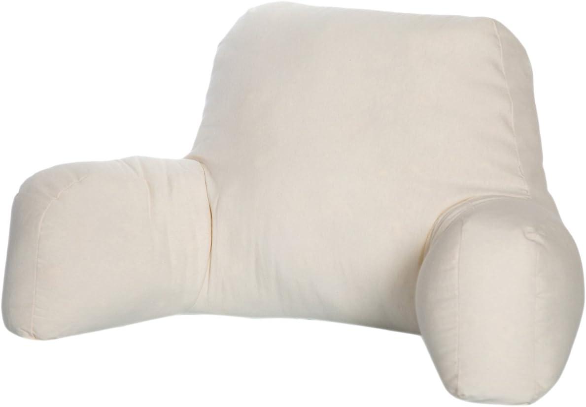 Dormio - Cojín de lectura o descanso, Relleno de fibra hueca con tratamiento antiácaros, antibacterias, antimoho y antialérgico, Color Blanco, Tamaño único