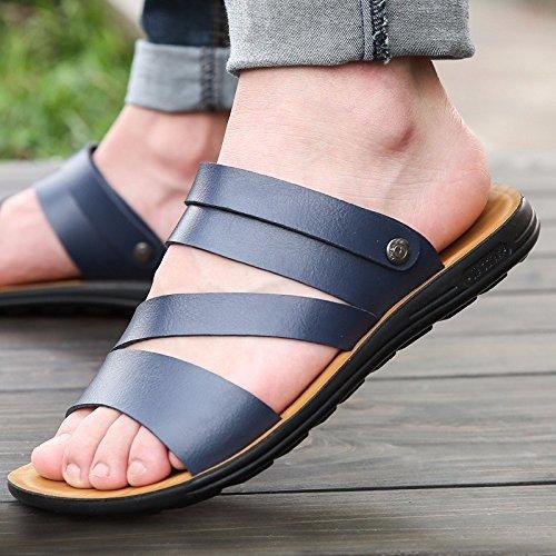 Das neue Männer Freizeit Leder Sandalen Dicker Boden Männer Schuh Sommer Atmungsaktiv Trend Strand Schuh Männer Jugend ,blau,US=7,UK=6.5,EU=40,CN=40