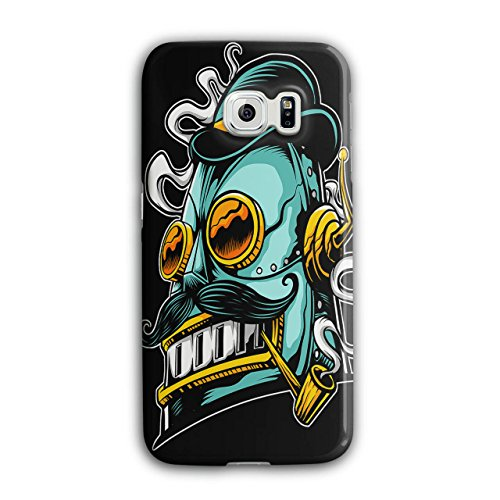 Robot Smoking Geek Robot Smoking Geek Case for Samsung Galaxy, Crazy Non-Slip Cover - Slim Fit, Comfortable Grip, Protective Case by Wellcoda