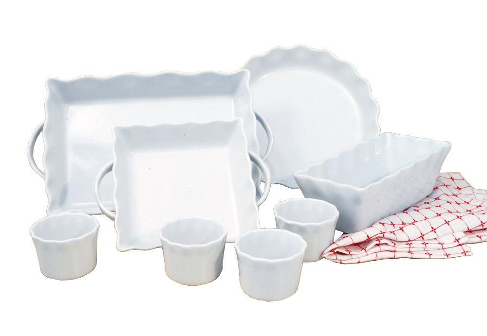 Cook Pro Inc 8-Piece White Ceramic Ruffled Bakeware Set