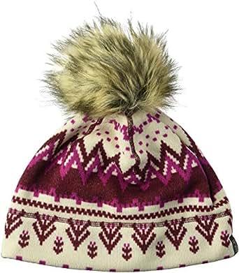 Jack Wolfskin Women's Scandic Fleece Beanie with Faux Fur Pom-Pom Hat, Garnet Red All Over, Medium